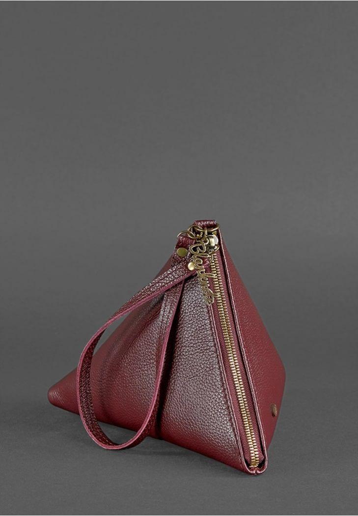 "Кожаная женская сумка-косметичка ""Пирамида"""
