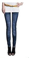 Джеггинсы-Леггинсы синие, имитация джинса, складочки