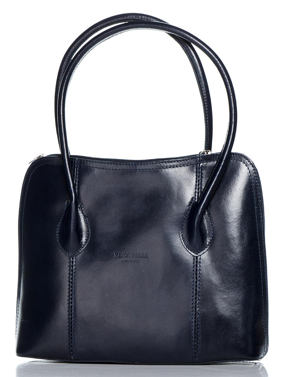 Женская черная сумка тоут NICOLE Diva's Bag темно-синяя 30 см х 23 см х 8 см