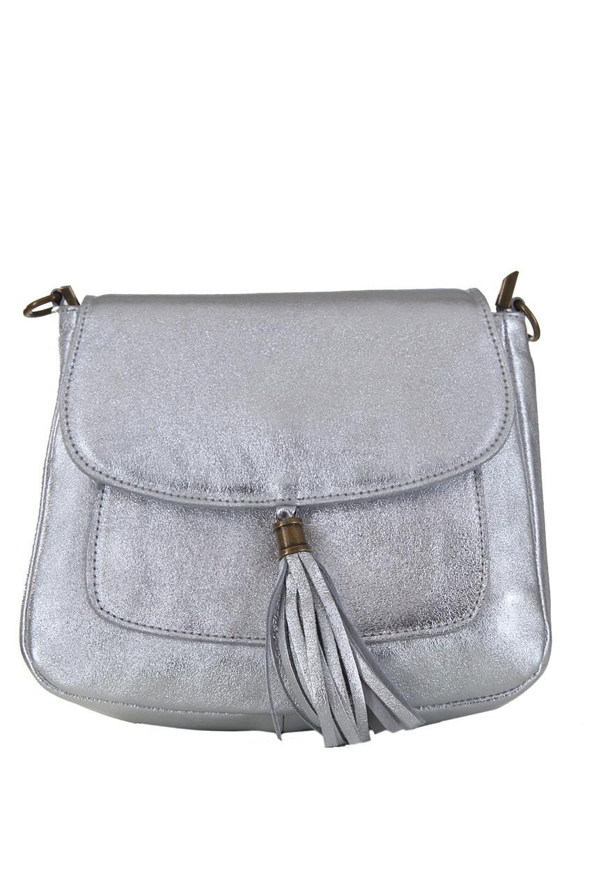 Серебряная маленькая сумка с бахромой типа месенджер NIVES Diva's Bag 21 см х 18 см х 5 см
