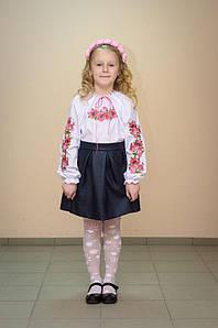 Вишиванка дитяча Волинські візерунки Мальви 110 см біла