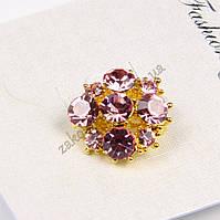 Брошь цветочек, основа метал золотистого цвета, размер: 17 мм, 1 штука
