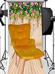 Кресло Флорино с отоманкой, желтый велюр, бук, фото 4