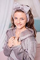 Блестящий халат на девочку  Eirena Nadine (52-543) на рост 152 серый