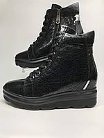 Полуботинки женские кожаные зимние на платформе со шнуровкой чёрные с блеском, термо.
