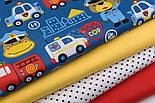 """Ткань хлопковая """"Мишка-регулировщик и спец транспорт"""" на синем (№2420а), фото 3"""
