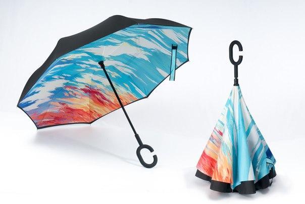 Удобный обратный зонт