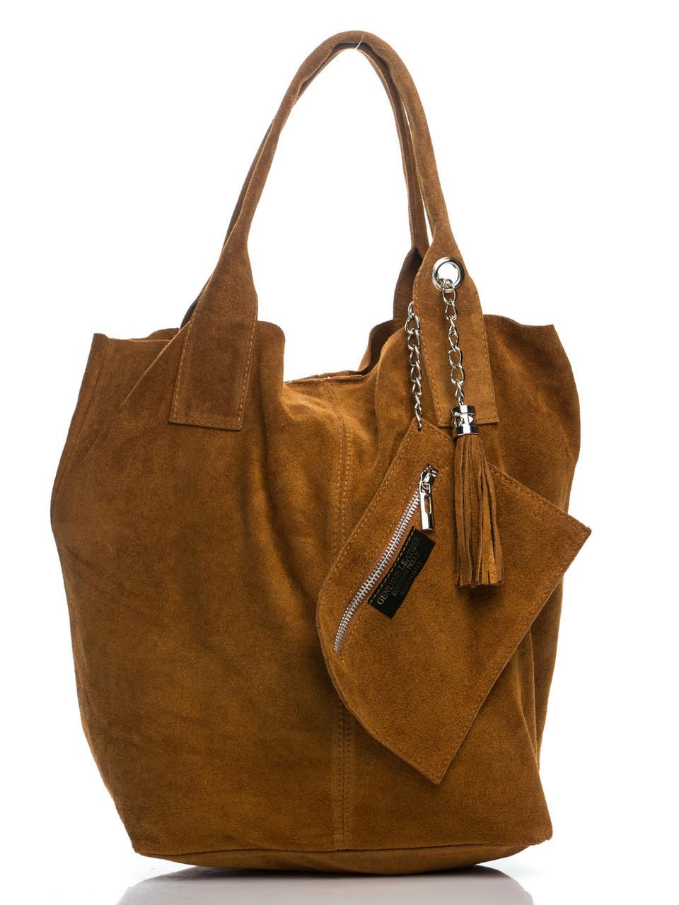 Кожаная сумка хаки типа шопер ARIANNA Diva's Bag коньячная 27 см х 36 см х 18 см