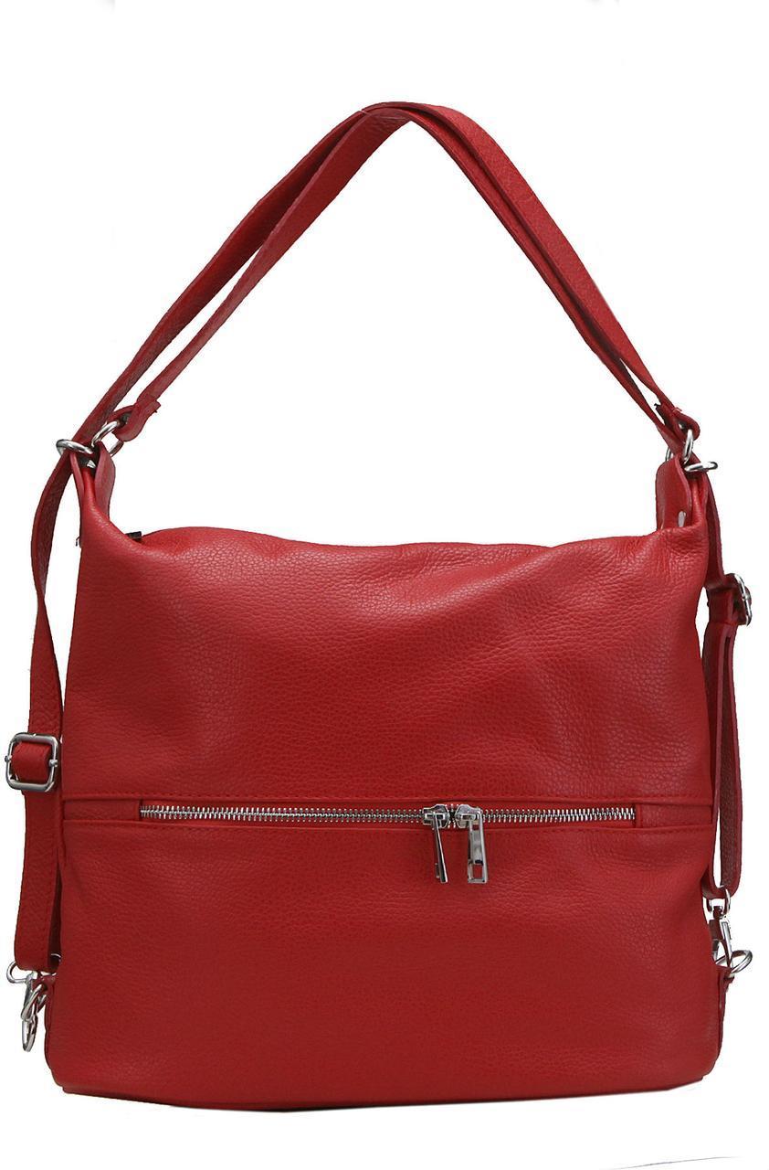 Женская кожаная сумка LENZA Diva's Bag цвет красный