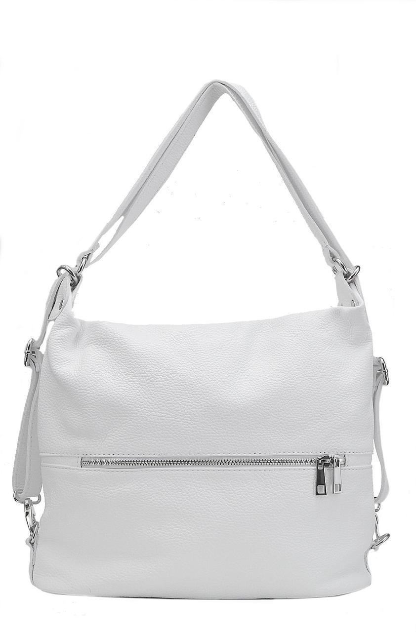 Женская кожаная сумка LENZA Diva's Bag цвет белый