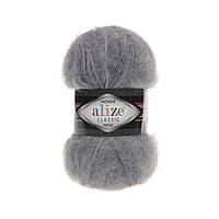 Пряжа Alize Mohair Classic New 412 серый меланж (мохеровая пряжа Ализе Мохер Классик, Алізе Мохер класік)