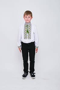 Вишиванка дитяча Волинські візерунки для хлопчика Дубочки 146 см біла