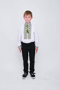 Вишиванка дитяча Волинські візерунки для хлопчика Дубочки 140 см біла