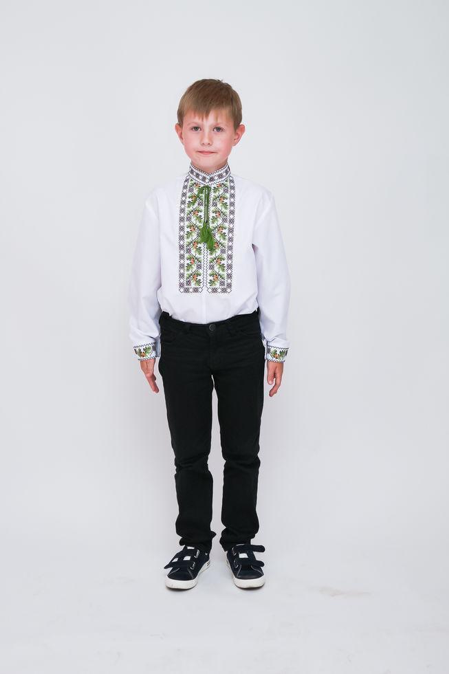 Вишиванка дитяча Волинські візерунки для хлопчика Дубочки 122 см біла