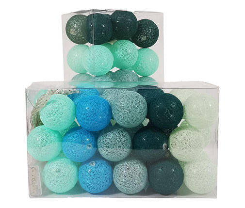 Декоративная LED гирлянда Cotton Balls Хлопковые Тайские Шарики лед30шт D6см длина гирлянды 4,6м на батарейках, фото 2