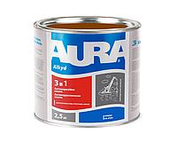 Эмаль-грунт алкид-уретановая AURA 3 в 1 антикоррозионная коричневая 2,5л