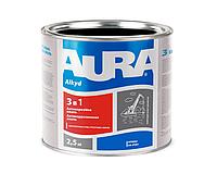 Эмаль-грунт алкид-уретановая AURA 3 в 1 антикоррозионная черная 2,5л
