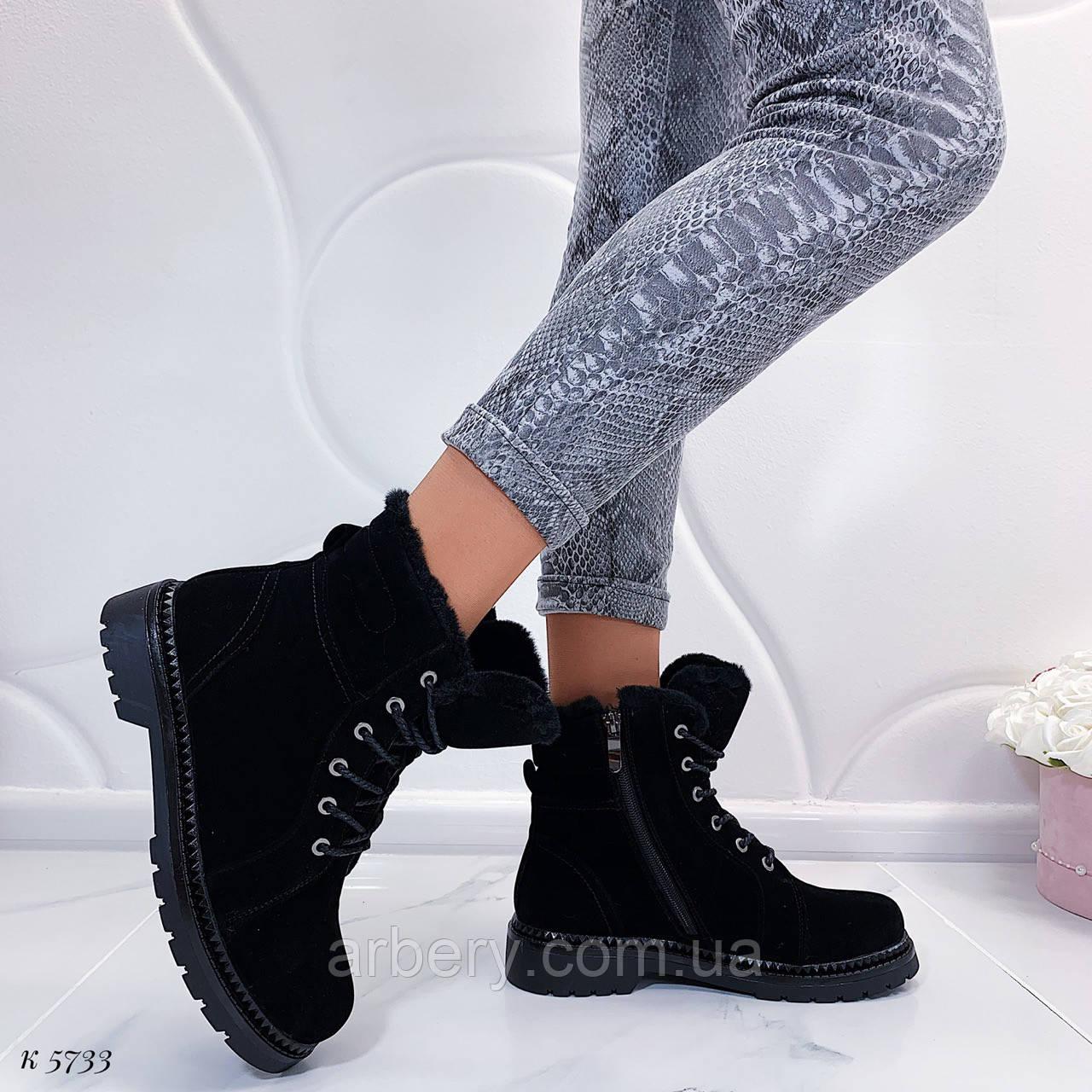 Женские зимние ботинки на шнурках, фото 1