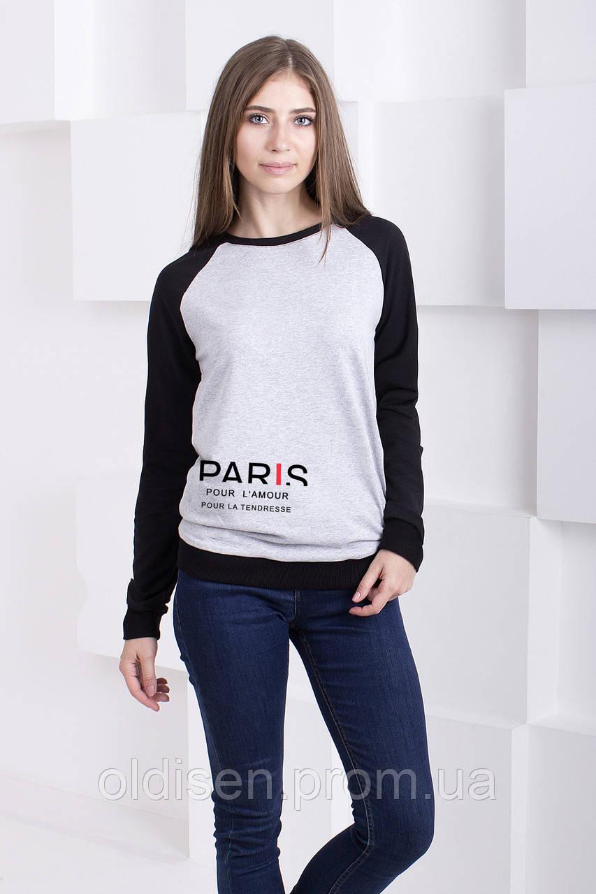 "Реглан "" Париж"" – Серый меланж, S | 42-44"