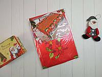 Атласная красная скатерть с рисунком Пуансетия 150*220 см