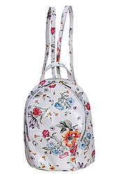 Жіночий шкіряний рюкзак ZANINA diva's Bag колір квітковий принт