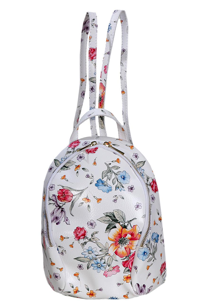 Женский кожаный рюкзак ZANINA Diva's Bag цвет цветочный принт