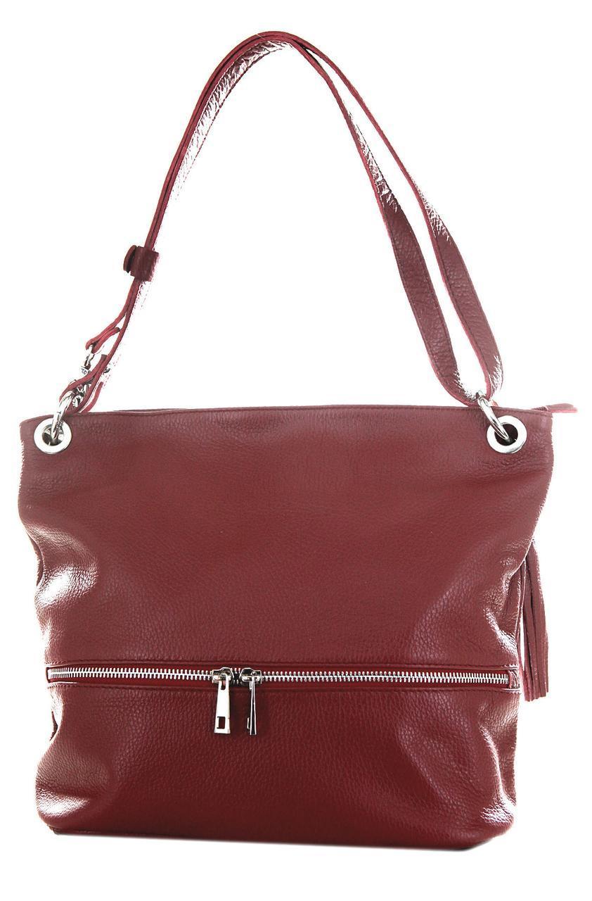 Женская кожаная сумка JOSS Diva's Bag цвет бордовый