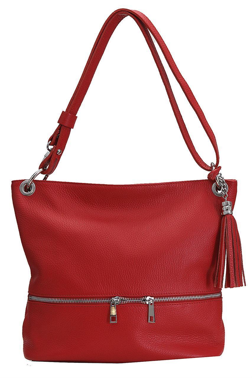 Женская кожаная сумка JOSS Diva's Bag цвет красный