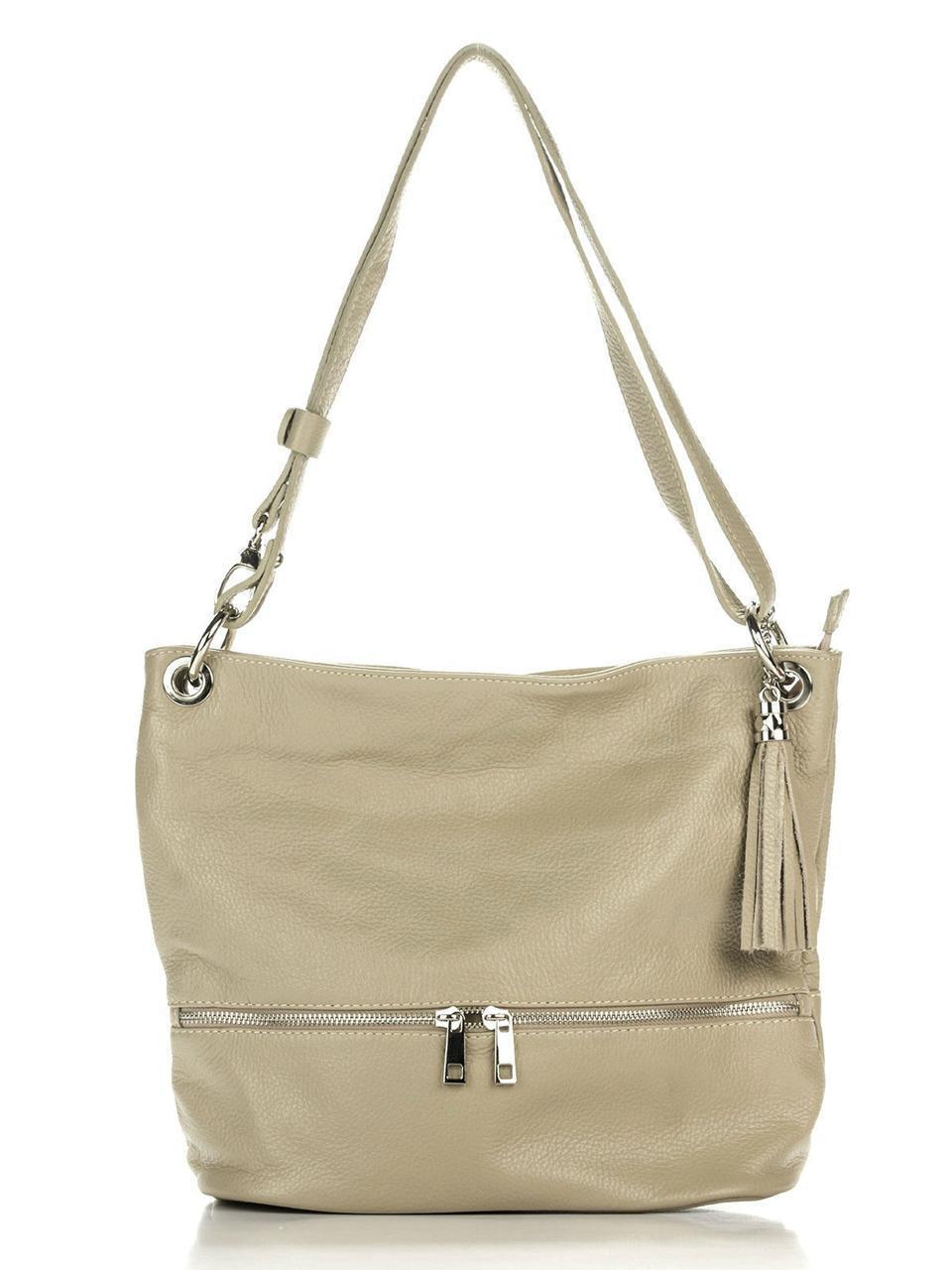Женская кожаная сумка JOSS Diva's Bag цвет серо-коричневый