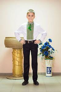 Вишиванка дитяча Волинські візерунки ткана зелена 122 см біла