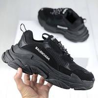Женские кроссовки Balenciaga Triple S Black (люкс копия)