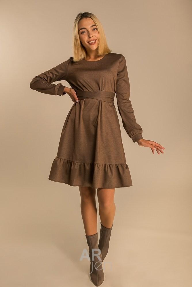 Стильное повседневное платье выше колен со сьемным поясом цвет коричневый