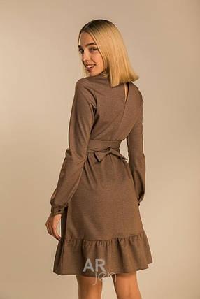Стильное повседневное платье выше колен со сьемным поясом цвет коричневый, фото 2