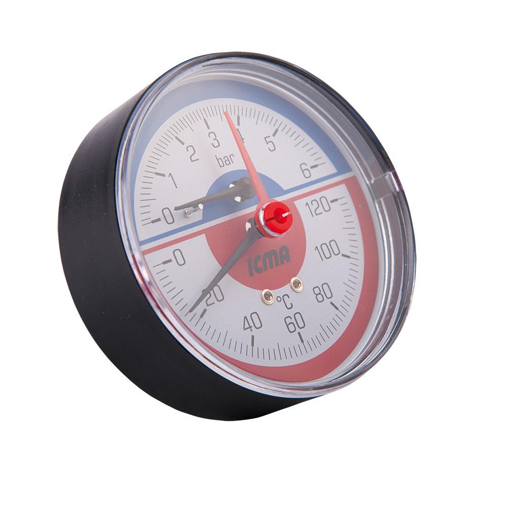 Термоманометр аксиальный с запорным клапаном 1/2 (6бар) ICMA 259 (Италия)