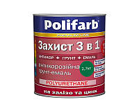 Эмаль-грунт акриловая POLIFARB ЗАХИСТ 3 в 1 для металла и оцинковки, темно-зеленый, 2,7кг