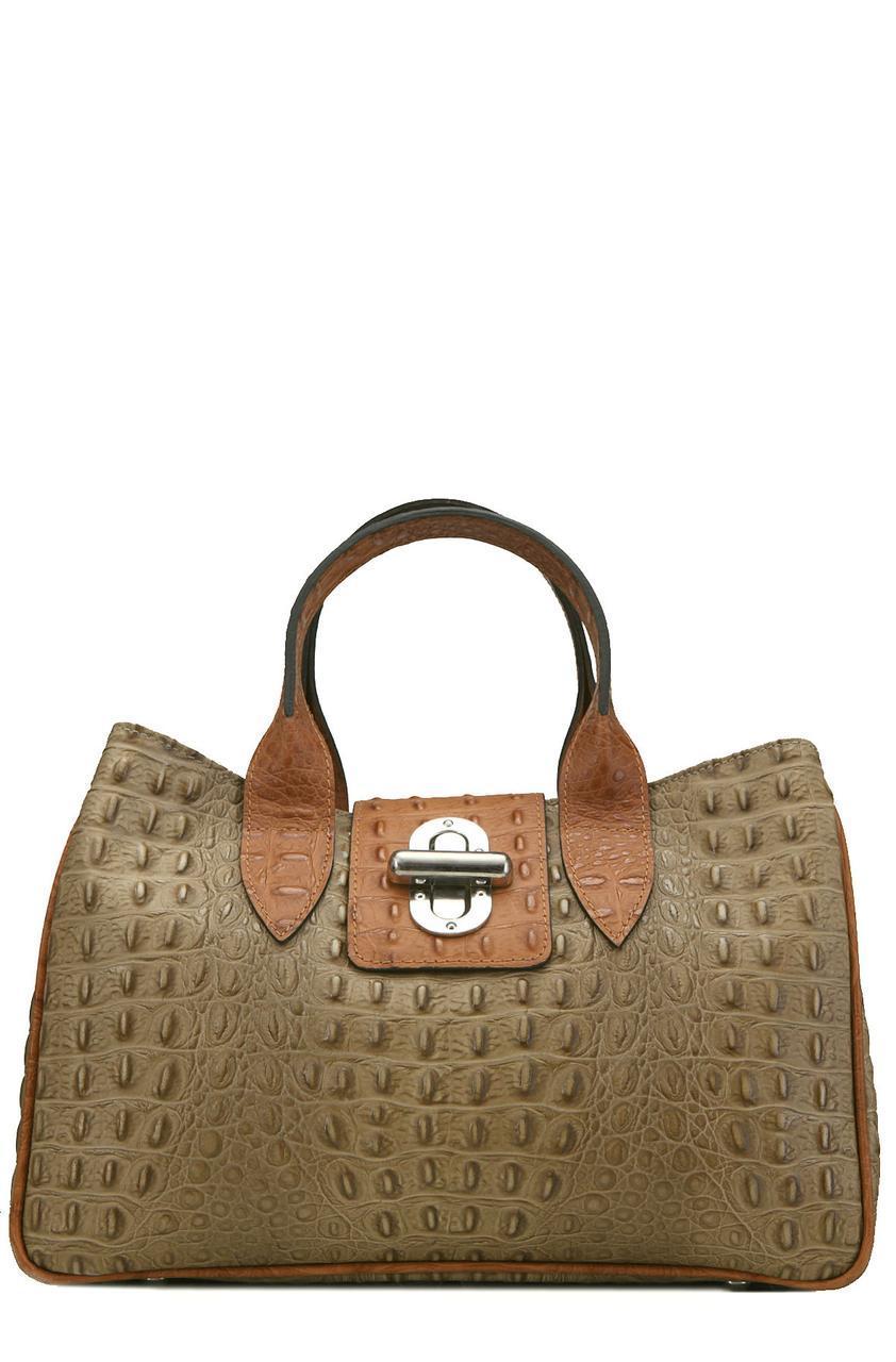 Женская кожаная сумка LAURA Diva's Bag цвет серо-коричневый/коньячный