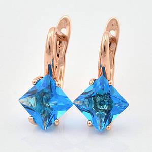 Серьги женские классические с голубыми фианитами позолота