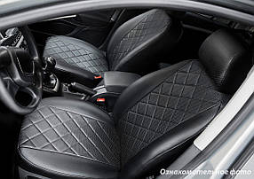 Чехлы салона Renault Duster 2011-2015 (зад. сид. 60/40) Эко-кожа, Ромб /черные