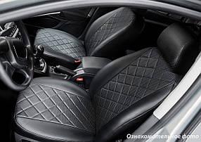 Чехлы салона Renault Duster 2015- (сплошн. 5 подгол.) Эко-кожа, Ромб /черные