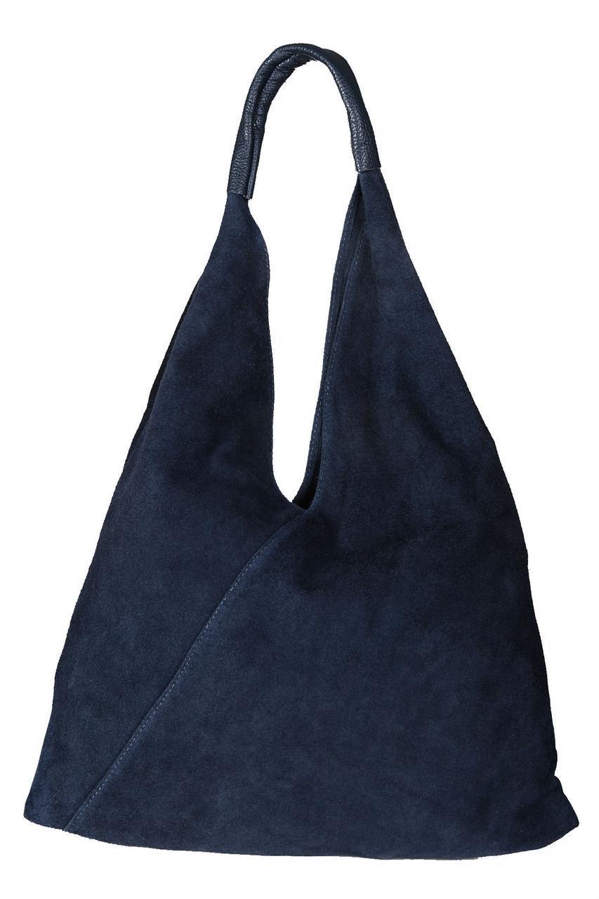 Женская сумка торба через плече VOLMA Diva's Bag темно-синяя 45 см х 38 см