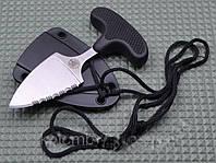 Ніж тичок пуш даггер + чохол рукоять резинопластик, клинок сталевий з щербинами (ніж-пилка)), фото 1