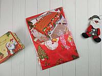 Скатерть новогодняя атлас красного цвета Санта Клаус 150*220 см