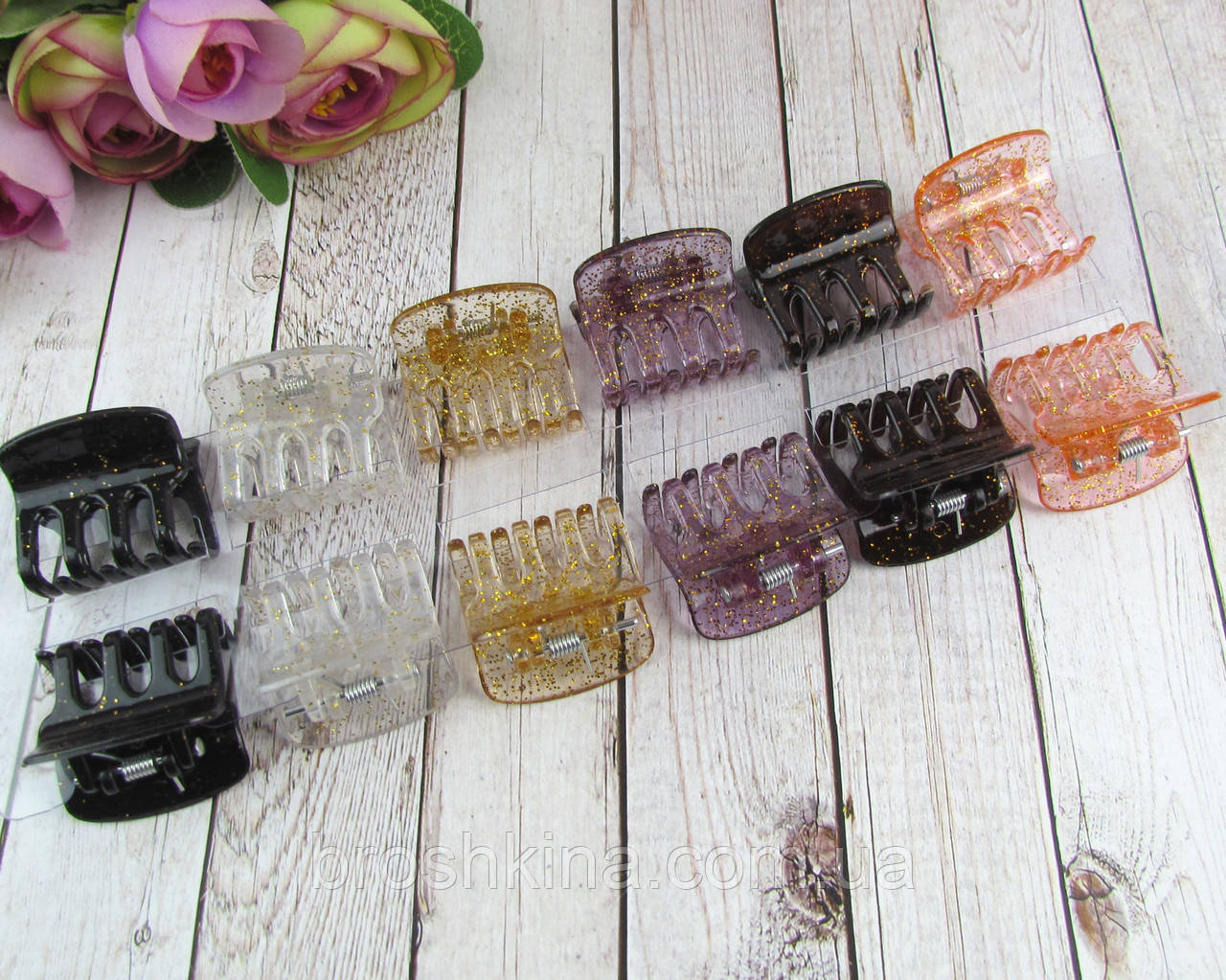 Крабики для волос пластик с блестками L 3 см 12 шт/уп.