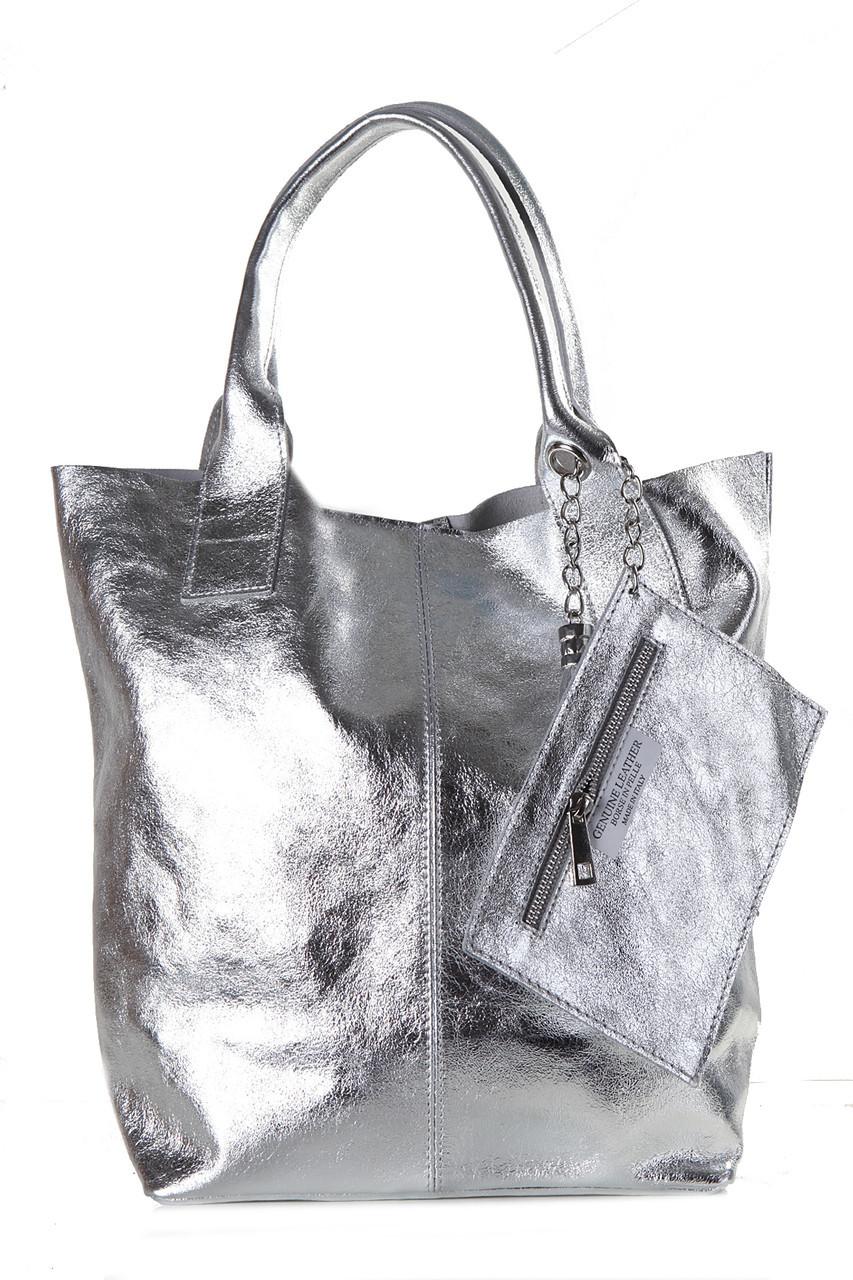 Женская кожаная сумка BRIGIDA Diva's Bag цвет серебряный