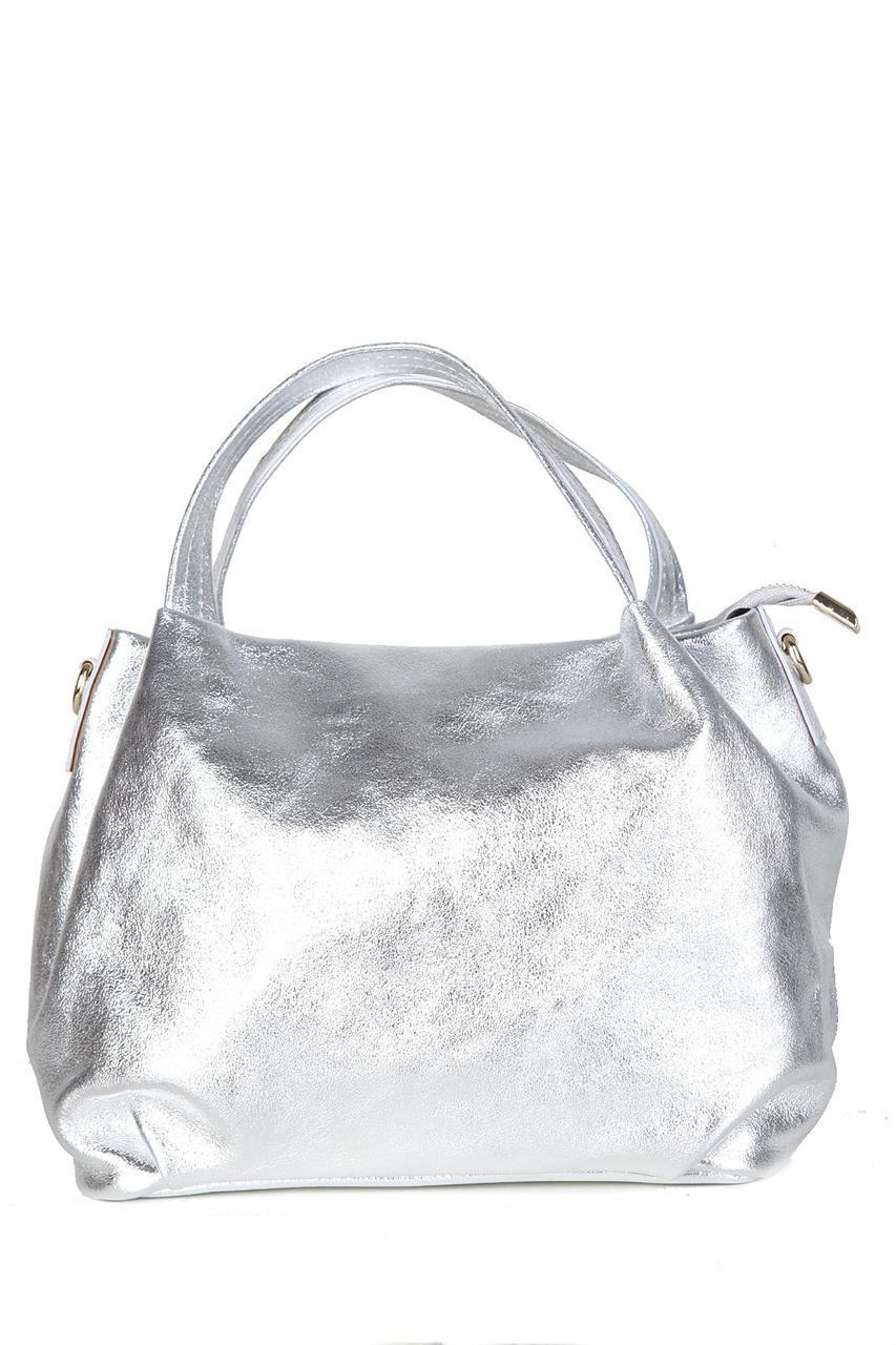 Женская кожаная сумка BONELLA Diva's Bag цвет серебряный