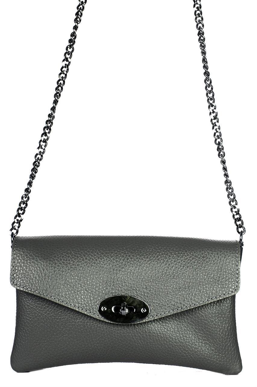 Женская кожаная сумка BERTA Diva's Bag цвет серый