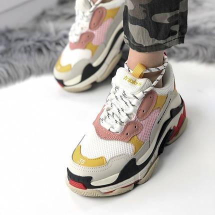 Женские кроссовки в стиле Balenciaga Triple S White Yellow Pink, фото 2
