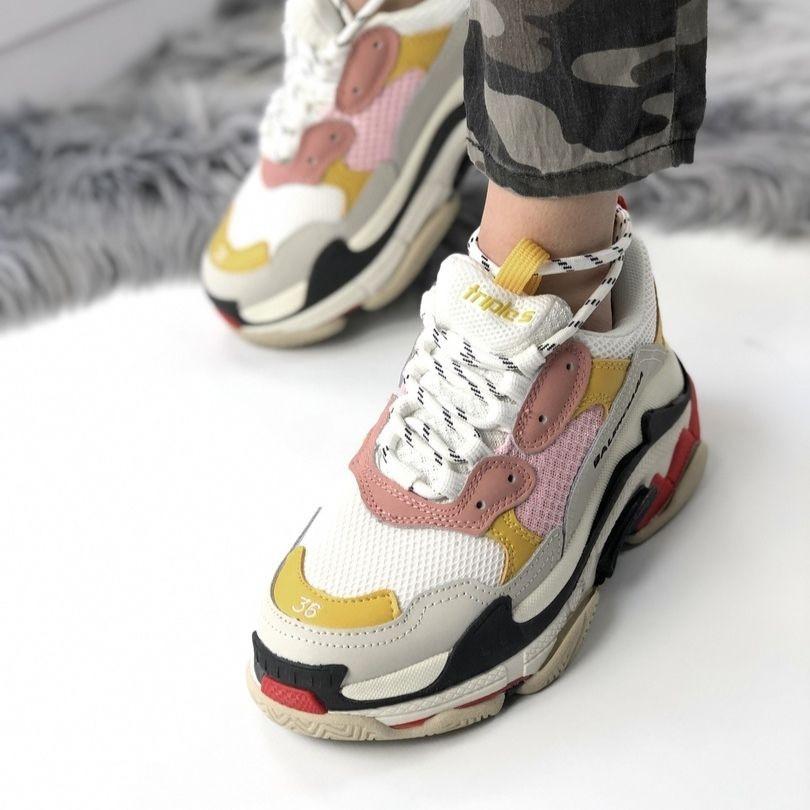Женские кроссовки в стиле Balenciaga Triple S White Yellow Pink