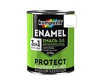 Эмаль-грунт акриловая KOMPOZIT 3 в 1 PROTECT для металла и оцинковки белая 0,75кг