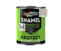 Эмаль-грунт акриловая KOMPOZIT 3 в 1 PROTECT для металла и оцинковки серебристая 0,65кг